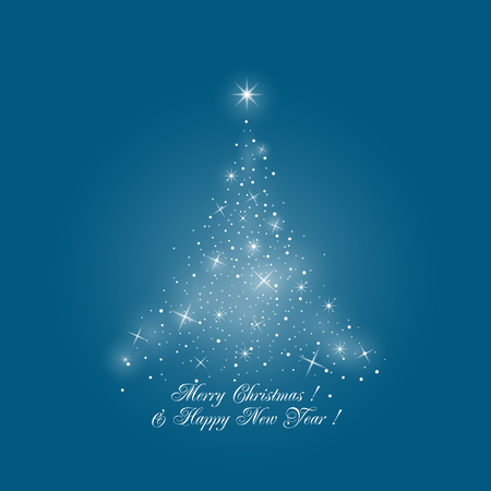 background card: Bright Stylized Christmas Tree of Lights on Blue Background , Merry Christmas and Happy New Year, Vector Illustration