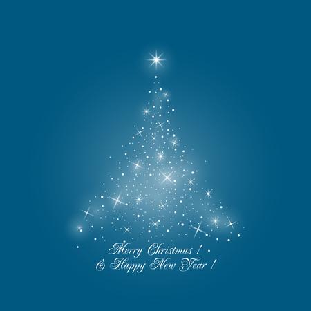 fondo para tarjetas: Brillante estilizado árbol de Navidad de las luces en el fondo azul, Feliz Navidad y Feliz Año Nuevo, ilustración vectorial