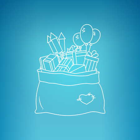 merrychristmas: Bag of Santa Claus with Gifts on a Blue Background, a Bag with Gifts and Firecrackers and Balloons, Drawing in Linear Style , Vector Illustration