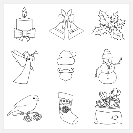 jingle bells: Set Christmas Thin Line Icons,Festive Candle,Jingle Bells,Holly Berry,Christmas Angel,Santa Claus,Snowman,Bullfinch,Bag of Santa Claus with Gifts,Sock Decorated Snowflakes,Vector Illustration
