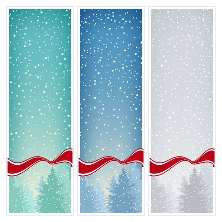 december background: Set of  Vertical Banners with Snowfall,Banners Snowfall in the Forest,Fir Trees in Winter in Snowfall,Winter Banners, Christmas Winter Landscape in Turquoise Shades in Blue Shades and in Gray Shades Illustration