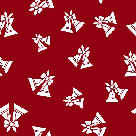 Seamless Pattern with Holiday Jingle Bells  ,Holiday Jingle Bells  Decorated with a Bow  on a Red Background, Vector Illustration