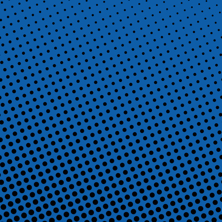 Pop Art Background, Background with Black Dots on Blue ,Halftone Background,  Retro Style, Vector Illustration
