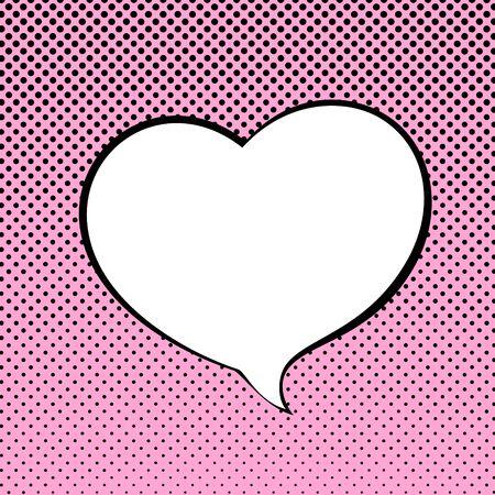 Corazón en forma de burbuja del discurso en el fondo del arte pop, feliz día de San Valentín, la burbuja del discurso en el fondo de medios tonos, estilo retro, ilustración vectorial
