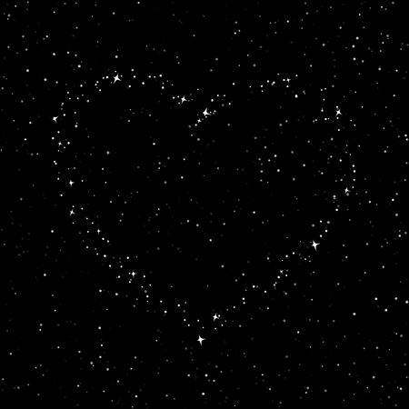 The Heart of the Stars in the Sky, Night Sky with Stars for Valentine, Starry Night Sky, Happy Valentines Day , Vector Illustration