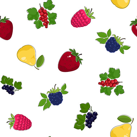 dewberry: Seamless Pattern of Fresh Ripe Fruits and Berries, Fruit Pattern, Berry Pattern, Vector Illustration