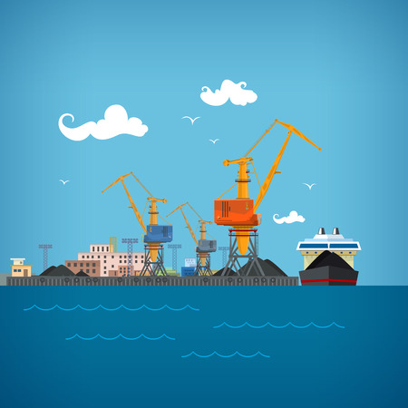shipbuilder: Cargo Sea Port, Unloading Coal or Ore from the Dry Cargo Ship, Cranes Load Coal on the Dry Cargo Ship or Unload,Logistic,  Sea Freight Transportation, Cargo Transport, Port Warehouses and Cranes Illustration