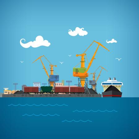 Cargo Sea Port, Lossen Kolen of Ore uit de droge lading schip, Kranen Load Kolen op de droge lading schip, Logistiek, Zee Vrachtvervoer, Port Pakhuizen en kranen, treinwagons voor Bulk Cargo