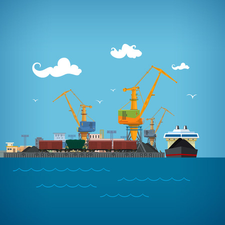 coal: Cargo Sea Port, Unloading Coal or Ore from the Dry Cargo Ship, Cranes Load Coal on the Dry Cargo Ship ,Logistic,  Sea Freight Transportation, Port Warehouses and Cranes, Train Wagons for Bulk Cargo Illustration