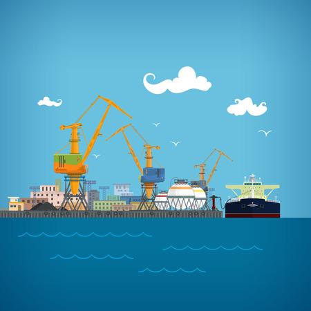 Sea Port Cargo, Déchargement du pétrole de la citerne, de chargement ou de déchargement de liquides ou d'huile ou de gaz de pétrole liquéfié, Port Entrepôts et grues, Fret maritime Transport, Logistique Vecteurs