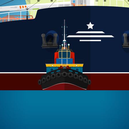 Tugboat Towing a Large Ship, a Front View of the Push Boats, Tow Boat for to Towage and Mooring of Other Courts , Vector Illustration