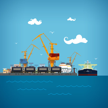 loading dock: Cargo Sea Port,Unloading of Oil from the Tanker ,Loading  of Liquids or Oil or Liquefied Petroleum Gas,Sea Freight Transportation, Logistics, Port Warehouses and Cranes , the Train with Tank Cars