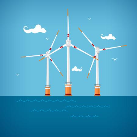 Wind Turbines in the Sea, Horizontal Axis Wind Turbines in the Sea  off the Coast , Offshore Wind Farm,  Vector Illustration
