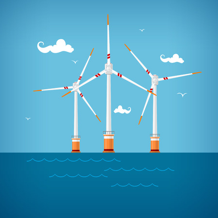 Wind Turbines in the Sea, Horizontal Axis Wind Turbines in the Sea  off the Coast , Offshore Wind Farm,  Vector Illustration