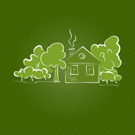rural house: Small Rural House with Trees on a Green Background