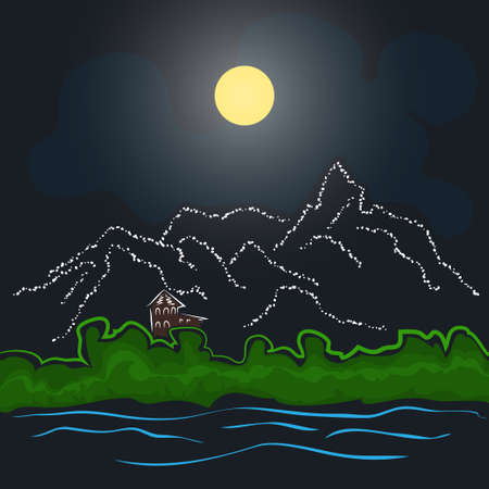 idyll: House by the river and mountains in the background of the night sky