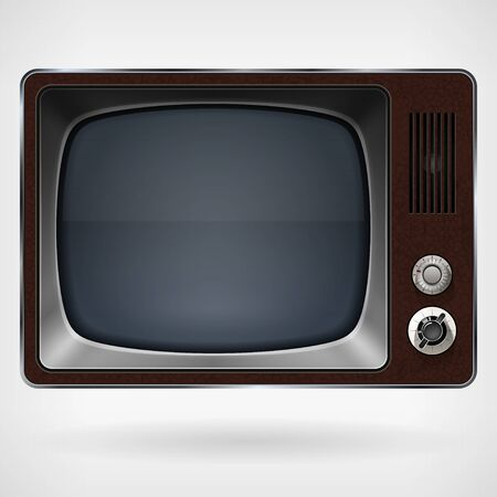 outmoded: Vintage TV , TV speaker and switches Stock Photo