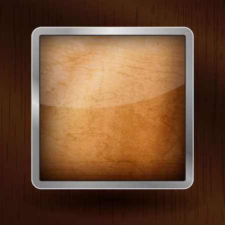 woody: Wooden icon with an aluminum frame on woody background Stock Photo
