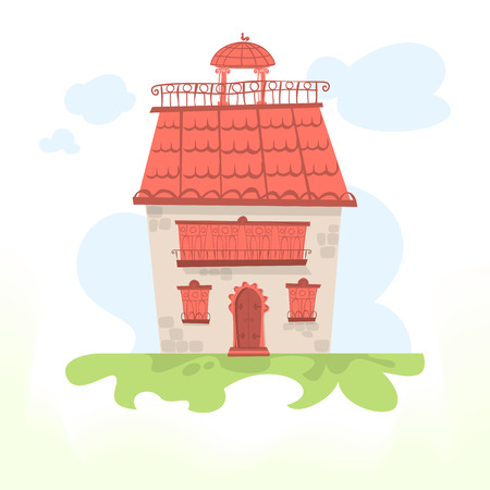 tiled: Fairy house with a tiled roof and a cockerel Stock Photo