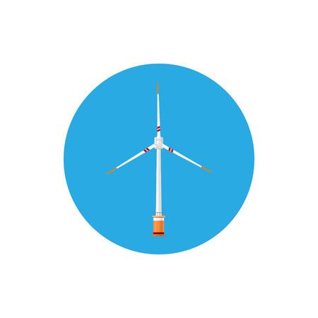 windfarm: Wind Turbine Icon, Colorful Round Icon Horizontal Axis Wind Turbine , Vector Illustration Illustration