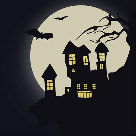 october 31: Castle on the background of the full moon, bats, halloween
