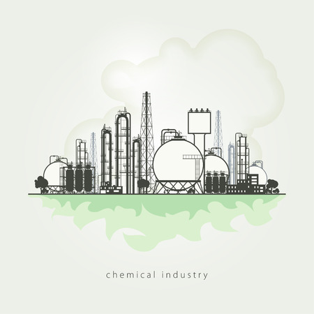 chemical plant: Illustration of a chemical plant or refinery processing of natural resources, or a plant for the manufacture of products. Chemical factory silhouette for industrial and technology design. Stock Photo