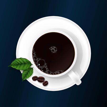 granos de cafe: Taza de caf� con granos de caf� y hojas de caf� Foto de archivo