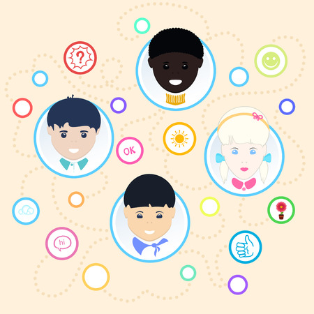 chinese american ethnicity: Children face, Children of different nationalities , illustration