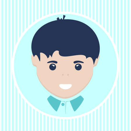 juniors: Face of the European boy in a round shape Stock Photo