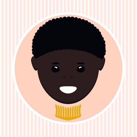 peach blossom: A face of African-American boy in round shape Stock Photo