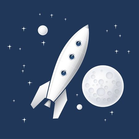 stars: Space rocket flying in space with planets and stars and the moon Stock Photo