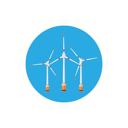 wind farm: Wind Turbines Icon, Colorful Round Icon Horizontal Axis Wind Turbines , Offshore Wind Farm Icon , Vector Illustration