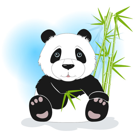 one panda: The panda sits with bamboo leaves on a white background, behind bamboo stalks