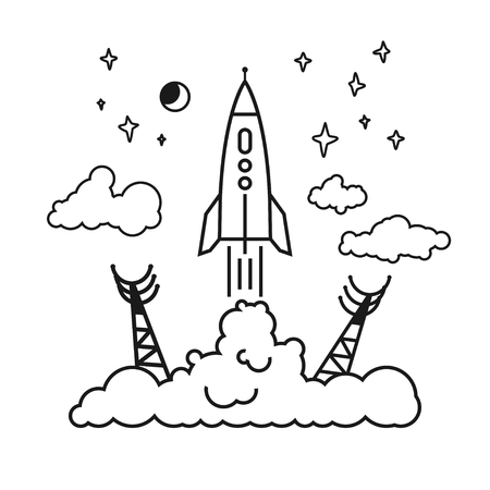 spaceport: Start of the Rocket from the spaceport to stars and planets and clouds, raising puffs of smoke