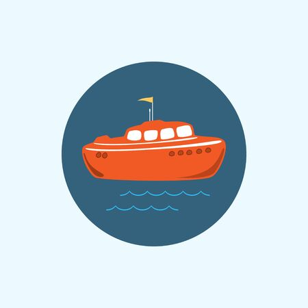 brand activity: Round icon with colored boat ,waves and a flag