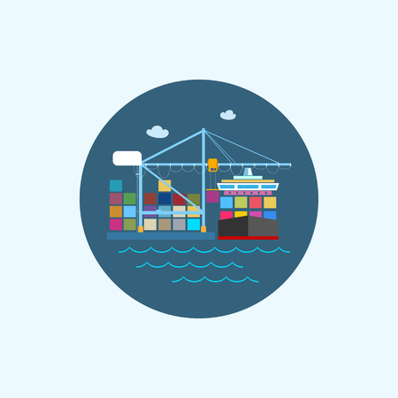 shipbuilder: Round icon with colored cargo container ship with clouds and seagulls, logistics icon,unloading containers from a cargo ship on the docks with cargo crane