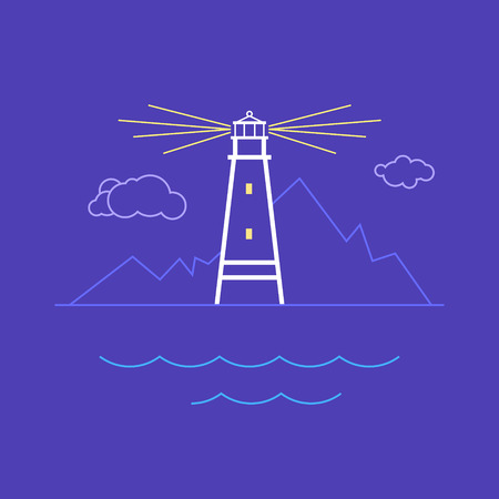 marine industry: Lighthouse , Beacon and Mountains  , Line Style Design,  Logo Design Element,Emblem for Travel Industry, Marine Emblem,  Vector Illustration