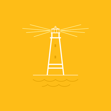 marine industry: Lighthouse on Yellow Background , Beacon and Mountains  , Line Style Design,  Design Element,Emblem for Travel Industry, Marine Emblem,  Vector Illustration Illustration