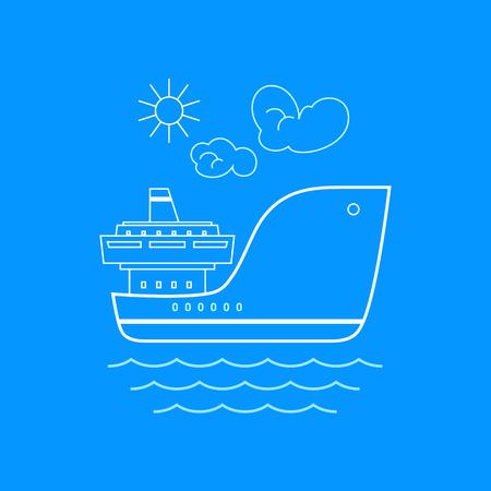 sea freight: Cargo Ship , Marine Emblem with Dry Cargo Ship, Line Style Design, Logo Design Element, Sea Freight Transportation, Logistics,  Vector Illustration