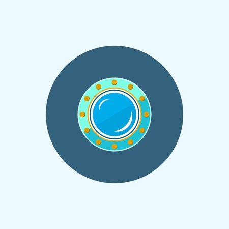 porthole: Porthole Icon , Round icon with colored porthole Stock Photo