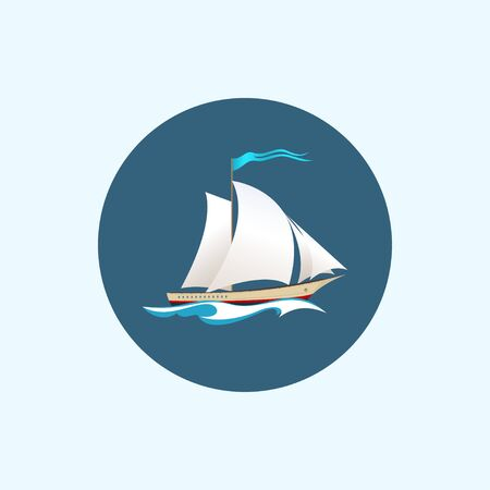 vessel: Round icon with colored sailing vessel, sailboat with a flag in the waves Stock Photo