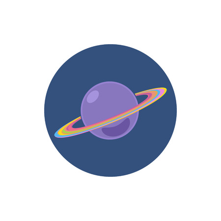 saturn planet: Saturn icon, Colorful round  icon Saturn, planet icon