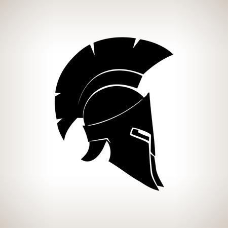 Antiquités romaines ou casque grec pour les soldats de protection de la tête avec une crête de plumes ou de crins avec des fentes pour les yeux et la bouche