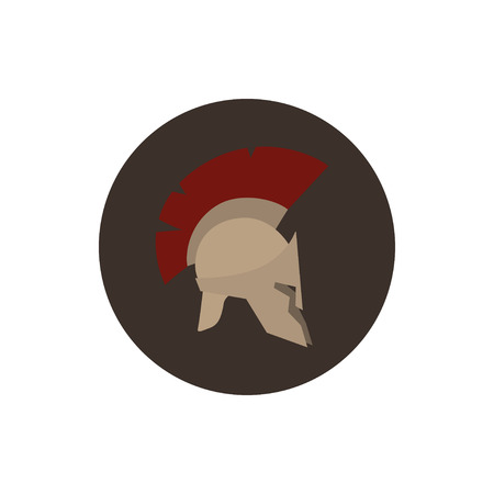 horsehair: Icon helmet, antiques Roman or Greek helmet for head protection soldiers with a crest of feathers or horsehair with slits for the eyes and mouth Stock Photo
