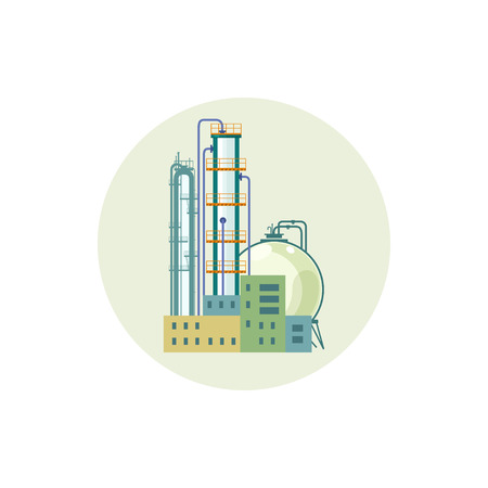pollutants: Icon of a chemical plant or refinery processing of natural resources, or a plant for the manufacture of products. Chemical factory silhouette for industrial and technology design