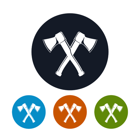 cleave: Crossed  Axes Icon, Four Types of Colorful Round Icons  Two Crossed  Axes , Vector Illustration