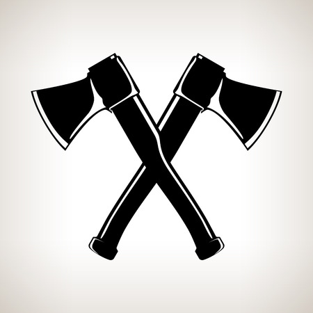 lop: Crossed  Axes, Silhouette of Two Crossed  Axes on a Light  Background, Black and White Vector Illustration Illustration