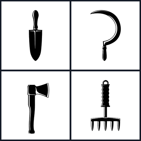 agricultural tools: Set of Garden and Landscaping Tools Icons , Icon Trowel , Icon Sickle , Icon Axe , Icon Hand Rake , Garden Equipment , Agricultural Tool  , Black and White Vector Illustration