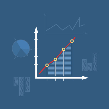diagrammatic: Chart  , Graphic Success, Icon Graph Growth, Line Style Design,  Vector Illustration