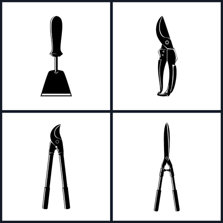 shear: Set of Agricultural Tool Icons, Garden and Landscaping Tools , Icon Hand Hoe, Icon Pruning Shear , Icon Loppers , Icon Garden Shears , Garden Equipment ,  Black and White Vector Illustration